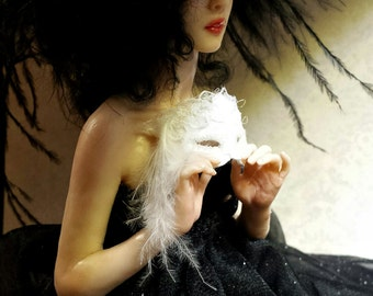 RESERVED--Raven, OOAK Hand Sculpted Fantasy Art Doll Collectible