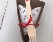 Pie Slice Box ~ Wood Fork ~ Doily ~ Red Jute ~ Take Home Pie ~ Wedding Pie ~ Wedding Favor ~ Take Home Dessert ~ Set of 8