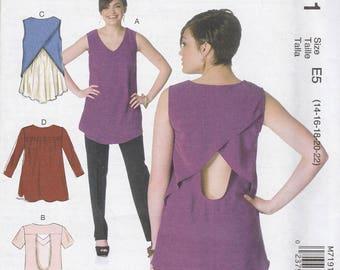 Overlap & Open Back Shirt Pattern McCalls 7191 Sizes 14 - 22 Uncut