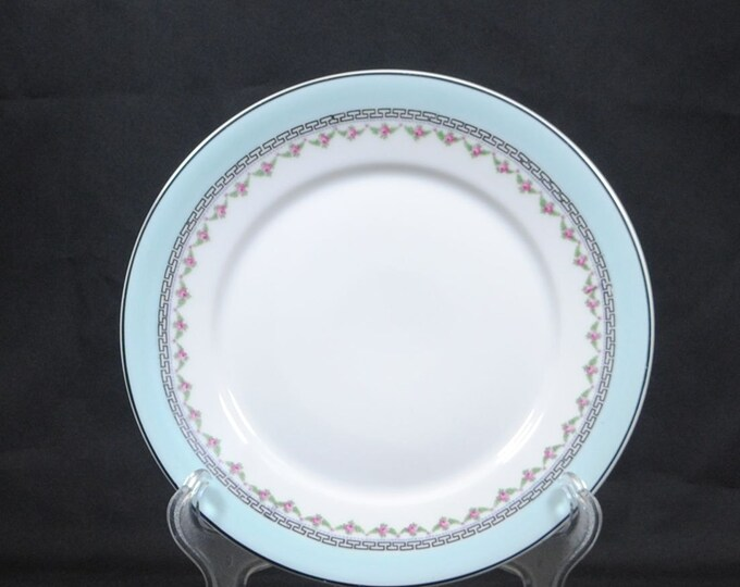 Vintage China Dessert Plate, Blue Trim and Pink Roses, By Z. S. & C Bavaria, White Trimmed in Blue with Tiny Pink Roses