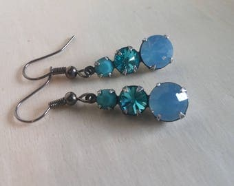 Swarovski Blue Opal Aqua & Turquoise Rhinestone Drops. Teardrop Dangles.Vintage Triple Set Rhinestone Drops. Wedding Jewelry.Prom Earrings.