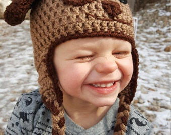 Brown Puppy Dog Crochet Hat, Toddler Size Winter Hat, Baby Hats for Winter, Dog Hat, Crochet Winter Hat, Hats With Ear Flaps, Gifts for Kids