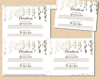 Gold Foil-Inspired Leafy Vines Directions Wedding Invitation Insert (5x3.5, Landscape): Text-Editable in Word, Printable Instant Download
