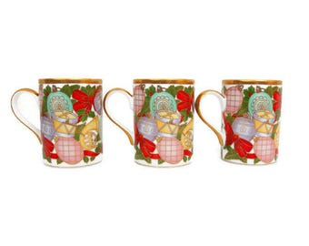 Vintage Christian DIOR CHRISTMAS Mugs Rare Set of 3 Ornaments Holly Design 24K Gold Trim Teacups Coffee Cups Fine China Multicolor