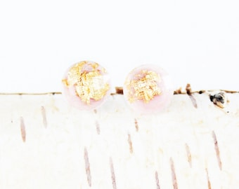 Gold Foil Earrings | gold leaf earrings, pink and gold earrings, gold earrings, gold foil, small earrings, tiny earrings