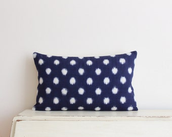 "SALE - Limited edition Indigo Ikat pillow cushion cover 12"" x 20"""