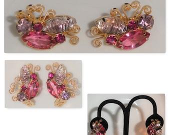 Vintage JULIANA DeLizza and Elster D&E Pink Light Purple Art Glass Rhinestone BUTTERFLY Clip Earrings