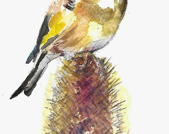 Goldfinch Painting -Original watercolor British birds wildlife