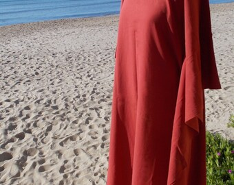 Long dress with butterfly sleeves, boho chic  boubou type in red or black, 100% organic cotton, eco-friendly color. Comfortable and cozy