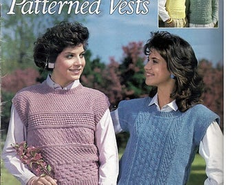 Pretty Patterned Vests to Knit Pattern Book Leisure Arts Leaflet 519