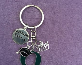 Graduation Keychain, college, Class of 2017.  Custom, personalized gift with College.