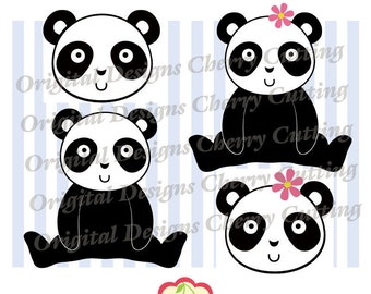 Panda SVG for boy and girl, Panda SVG DXF design, Panda Silhouette & Cricut Cut Files AN01-Personal and Commercial Use