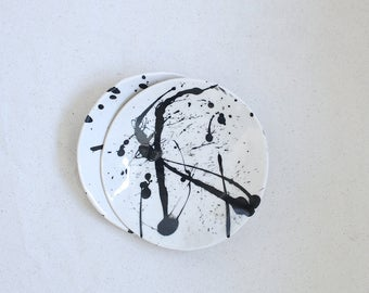 "Torrent Dish 6"" Splatter Dish Black and White Abstract Bowl Ready to Ship"