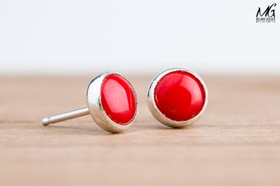 Bright Red Coral Post Stud Earrings in Sterling Silver