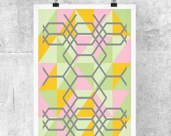 Pastel Geometric Art Print - Abstract Art