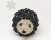 Speckled Black Hedgehog Stuffed Animal, Natural Toy