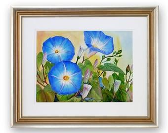 Framed Morning Glories painting, 17x21 original watercolor, floral garden art, blue flower wall art by Janet Zeh Original Art