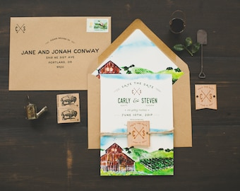 Rustic Watercolor Save The Date: Red Barn and Rolling Hills