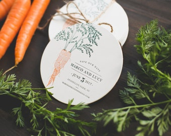 Rustic Letterpress Coaster Save The Dates: Farm-to-table inspired