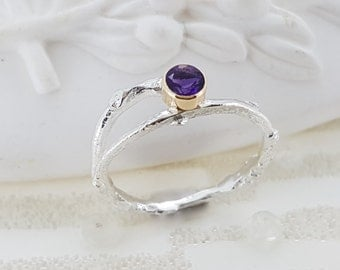 Amethyst Silver and Gold Twig Ring, February Birthstone Ring, 21st Birthday Gift, Promise Ring
