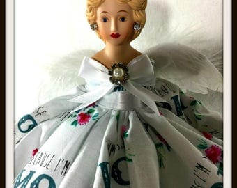 Mother's Day Gift Angel, Angel Tree Topper, Porcelain Angel, Gift Doll, OOAK Handmade Angel Doll, Mom You Are An Angel