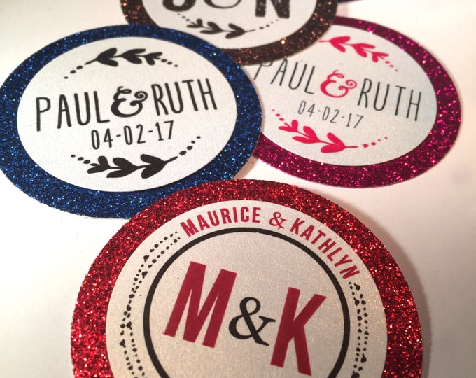 Round Favor tags, Monogram Tags, Custom, Baptism tags, Welcome bag tags, Monogram wedding tags, Enclosure Circular Medallion Tags.