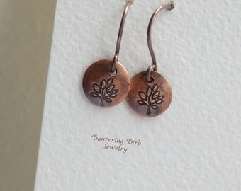 Tiny Copper Disc Earrings with Tree of Life, Simple Stamped Metal Drop Earrings for Everyday Wear, Minimalist Rustic Copper Jewelry