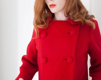 RESERVED Vintage red 1960s pea coat, wool double-breasted tailored collar, mod, S