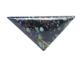 Blue Azurite with Green Chrysocolla in Red Copper Porphyry Matrix Semiprecious gemstone Cabochon Natural Mineral Gem Stone Premium