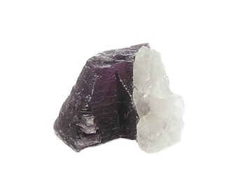 Purple Lepidolite Mica Layered Crystal with quartz from the gem fields of Brazil, Geo Mineral Specimen or Mixed Media Arts