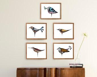 Set birds prints- Minimal floral birds, modern birds print, Set print wall art, Set option amount, floral birds nursery, minimal birds print