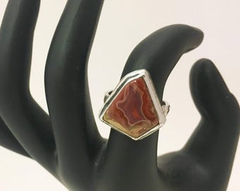 Fairburn / Teepee Canyon Agate and Sterling Silver Cocktail Statement Ring - One of a Kind