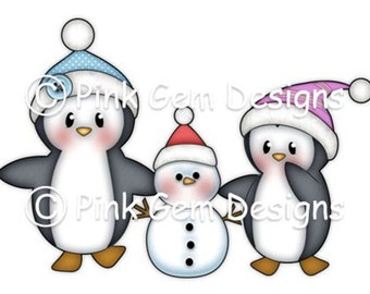 Digi Stamp 'Penguins with Snowman' . Makes Cute Christmas Cards.