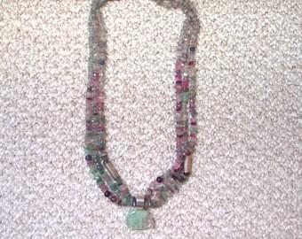 Vintage Turza Florite Bear Pendant on Fluorite and Amethyst Beads
