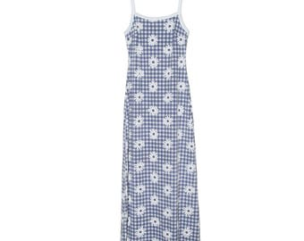90s Picnic Blue & White Daisy Plaid Gingham Maxi Dress Small
