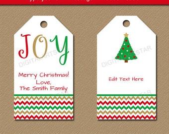 Printable Christmas Gift Tags - Editable Christmas Hang Tags - Holiday Gift Tags - DIY Christmas Wine Tags - Chevron Christmas Favor Tags