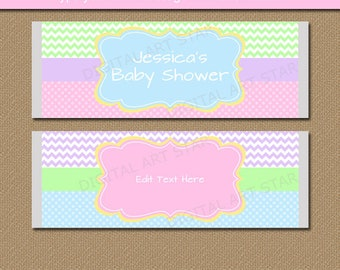 Spring Baby Shower Labels, Pastel Baby Shower Candy Bar Wrappers, Girl Baby  Shower Party