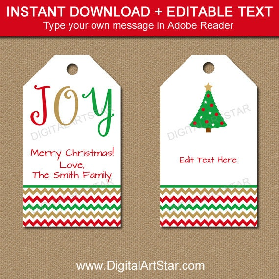 Printable Christmas Gift Tags Editable Christmas Hang Tags