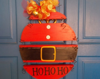 Santa Sign, Holiday Sign, Santa Wood Ornament, Ho Ho Ho, Plank Art, Holiday Door Hanger, Christmas Door Hanger, Holiday Sign, Christmas Sign