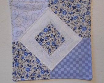 """Mug Mat, Drink Coaster, Fabric Coaster, Mini Quilt, Snack Mat, Blue Mug Rug, Floral Mug Rug, Quilted Mat, Fabric Mat, 6 1/4"""" x 6 1/4"""", #132"""