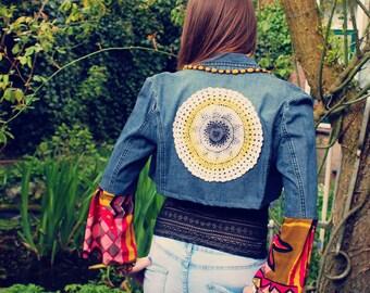 Bohemian Denim Jacket Size XS - M Blazer Cropped Vintage Doily Kimono Sleeves Boho Hippie Gypsy Upcycled Clothing Recycled Eco Friendly OOAK