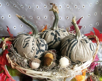 Burlap Pumpkins with Real Pumpkin Stems Rustic Thanksgiving Fall Home Decor Autumn Farmhouse Bowl Fillers Hostess Gift Can ADD Acorns!