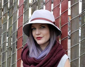 Light Grey Fedora in Velour Felt ~ Jack ~ women's, wide brim, 1930s, rain hat ~ handmade by Bonnet, your local Portland millinery