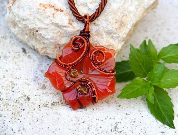 Carnelian flower pendant ~ Wire wrapped