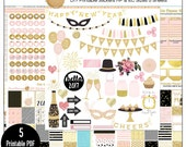 Pink Gold 2017 New Year Printable DIY Planner Kit 5 PDFs, EC or Happy Planner, OVER 300 Stickers!