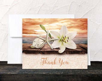 Autumn Beach Thank You Cards - Lily Seashells Sand Rustic Wood Dock - Seaside Water Tropical Orange Sunset - Printed Cards