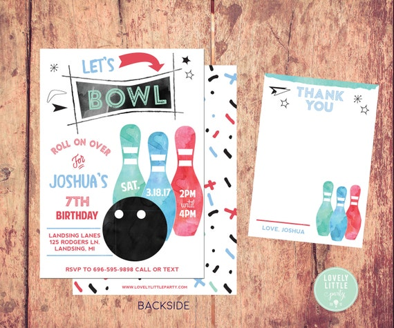 Bowling Party invitation Boy, Watercolor Bowling Invitation Kit  - Invite AND Thank You Card included -Printable or Printed Option