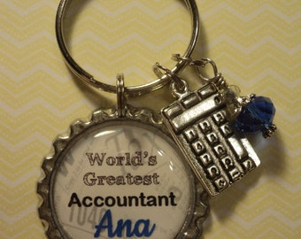 World's Greatest Accountant key chain with charms