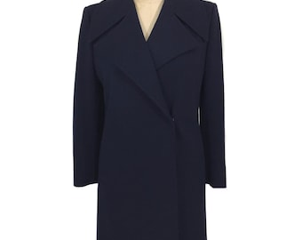 vintage 1970s MISS DIOR coat / navy blue / wool / wide lapel / Lord & Taylor / women's vintage coat / size medium