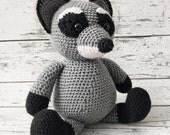 Scamp the Raccoon, Crochet Raccoon, Stuffed Animal, Raccon Amigurumi, Plush Animal, MADE TO ORDER